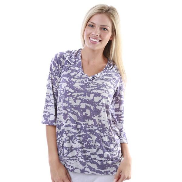 24/7 Comfort Apparel Women's Tie-dye Print 3/4-sleeve Hoodie with Pockets