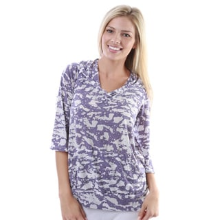 24/7 Comfort Apparel Women's Tie-dye Print 3/4-sleeve Hoodie with Pockets