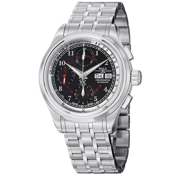 Ball Men's CM1010D-SCJ-BK 'Trainmaster Pulse meter' Black Dial Stainless Steel Watch