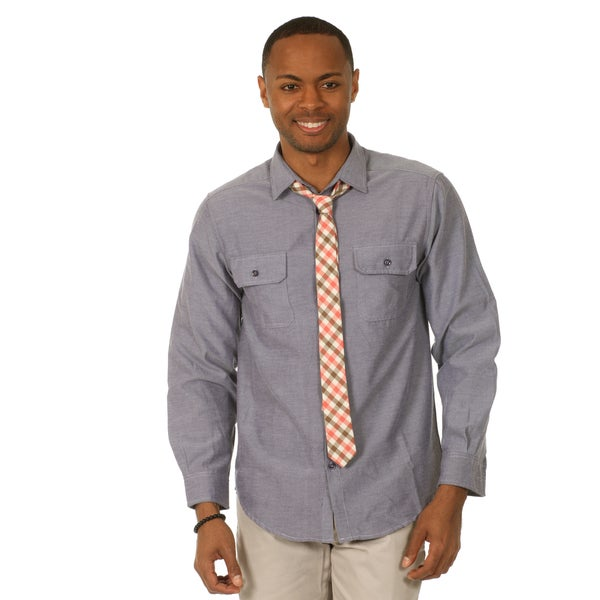 Justified Lies Men's Slim Fit Light Grey Shirt and Plaid Tie Set