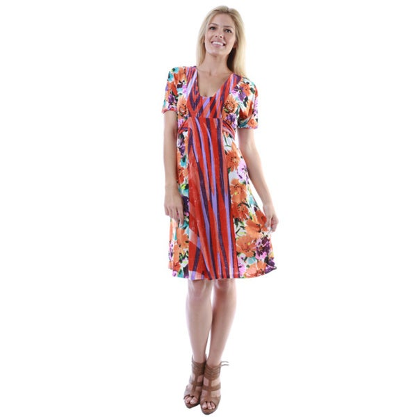 24/7 Comfort Apparel Women's Multiprint Short Sleeve Tie-back Knee-length Dress