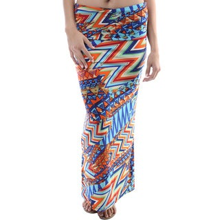 24/7 Comfort Apparel Women's Multicolor Print Fold-over Maxi Skirt
