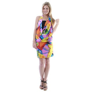 24/7 Comfort Apparel Women's Multicolor Abstract Print Knee-length Halter Dress