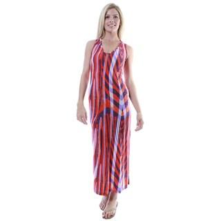 24/7 Comfort Apparel Women's Multicolor Print Sleeveless Tank Side Slit Maxi Dress