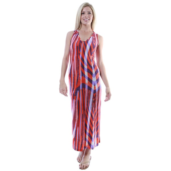 24/7 Comfort Apparel Women's Multicolor Print Sleeveless Tank Side Slit Maxi Dress