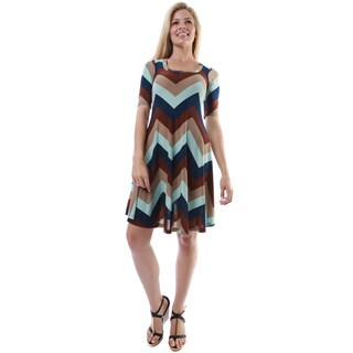 24/7 Comfort Apparel Women's Multicolor Chevron Print Elbow-length Sleeve Knee-length Dress