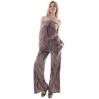 24/7 Comfort Apparel Women's 2-pocket Multicolor Print Sleeveless Jumpsuit