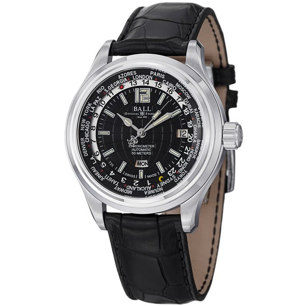 Ball Men's GM1020D-L1FCAJ-BK 'Trainmaster World time' Black Dial Black Leather Strap Watch