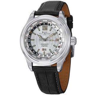 Ball Men's GM1020D-L1FCAJ-SL 'Trainmaster World time' Silver Dial Black Leather Strap Watch