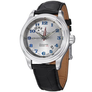 Ball Men's GM1020D-LCJSL 'Trainmaster Cleveland Express' Silver Dial Black Leather Strap Dual Time Watch