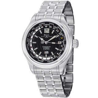 Ball Men's GM1020D-S1CAJ-BK 'Trainmaster World time' Black Dial Stainless Steel Watch
