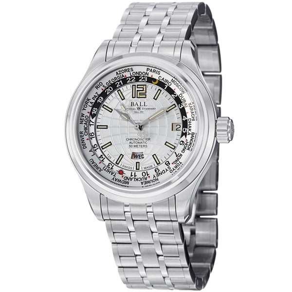 Ball Men's GM1020D-S1CAJ-SL 'Trainmaster World time' Silver Dial Stainless Steel Watch
