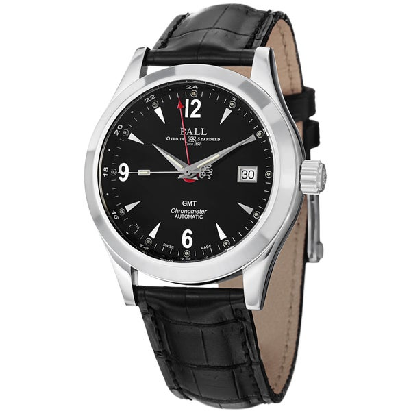 Ball Men's GM1032C-L2CJ-BK 'Engineer Ohio GMT' Black Dial Black Leather Strap Watch
