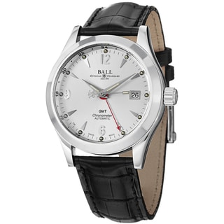 Ball Men's GM1032C-L2CJ-SL 'Engineer Ohio GMT' Silver Dial Black Leather Strap Watch