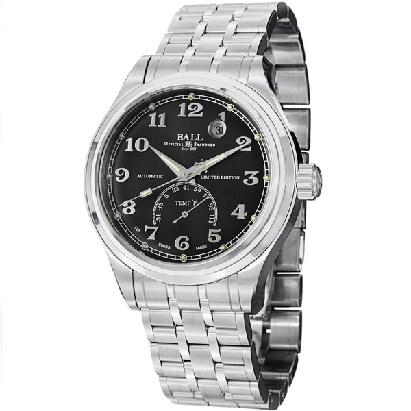 Ball Men's NT1050D-SJ-BKF 'Trainmaster Fahrenheit' Black Dial Stainless Steel Watch
