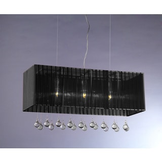 3-light Black Bough Crystal Chandelier