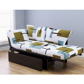 Elite Wood Abstract Block White Lounger with Drawer