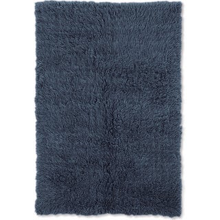 Linon Flokati Heavy Denim Blue Rug (2' x 5')