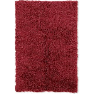 Linon Flokati Heavy Red Rug (2' x 5')
