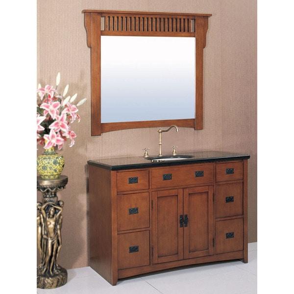 mission style 48 inch medium pecan black granite bathroom vanity set
