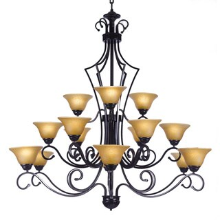 Gallery Versailles 15 Light Wrought Iron Chandelier Black