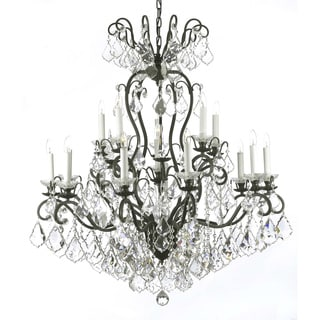 Versailles Wrought Iron and Crystal 16 Light Chandelier Black