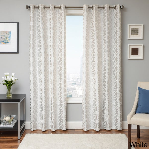 Peyton Tile Woven Jacquard Grommet Top Curtain Panel