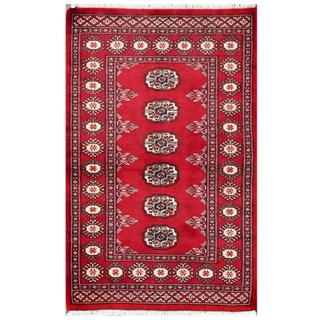 Herat Oriental Pakistani Hand-knotted Tribal Bokhara Red/ Grey Wool Rug (2'7 x 4')