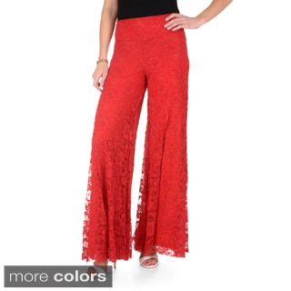 Journee Collection Women's Black Lace Palazzo Pants
