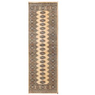 Herat Oriental Pakistani Hand-knotted Tribal Bokhara Tan/ Grey Wool Rug (2'7 x 8'2)
