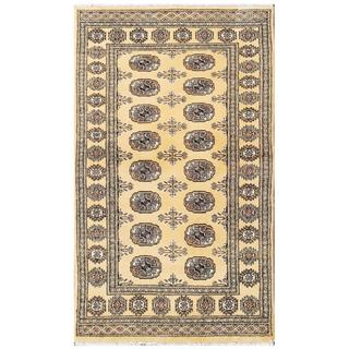 Herat Oriental Pakistani Hand-knotted Tribal Bokhara Tan/ Black Wool Rug (3' x 5'2)