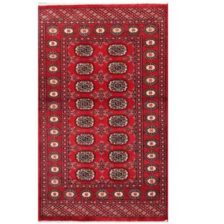 Herat Oriental Pakistani Hand-knotted Tribal Bokhara Red/ Black Wool Rug (3'1 x 5'1)