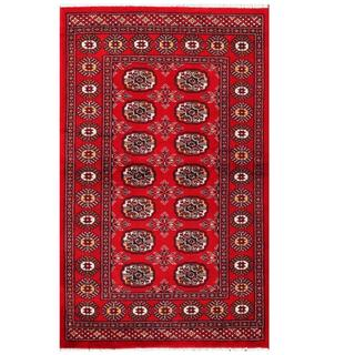 Herat Oriental Pakistani Hand-knotted Tribal Bokhara Red/ Black Wool Rug (3'1 x 5')