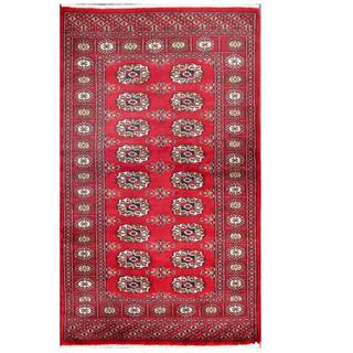 Herat Oriental Pakistani Hand-knotted Tribal Bokhara Red/ Black Wool Rug (3'1 x 5'2)