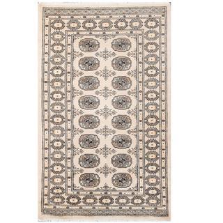 Herat Oriental Pakistani Hand-knotted Tribal Bokhara Beige/ Black Wool Rug (3'2 x 5'1)