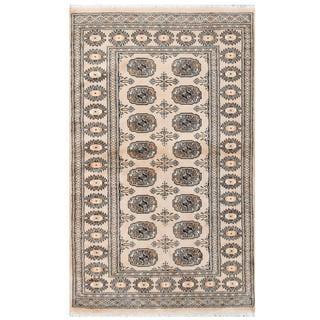 Herat Oriental Pakistani Hand-knotted Tribal Bokhara Tan/ Black Wool Rug (3'2 x 5'2)