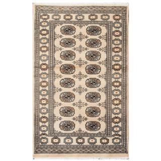 Herat Oriental Pakistani Hand-knotted Tribal Bokhara Tan/ Black Wool Rug (3'1 x 4'10)