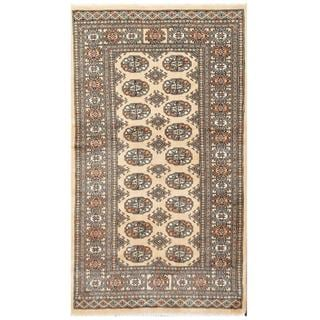 Herat Oriental Pakistani Hand-knotted Tribal Bokhara Tan/ Black Wool Rug (3' x 5'4)