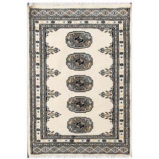 Herat Oriental Pakistani Hand-knotted Tribal Bokhara Ivory/ Grey Wool Rug (2' x 2'10)