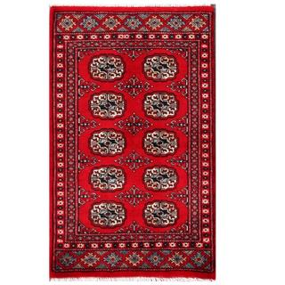 Herat Oriental Pakistani Hand-knotted Tribal Bokhara Red/ Grey Wool Rug (2' x 3'4)