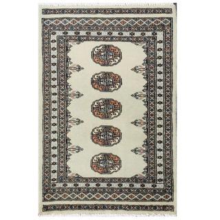 Herat Oriental Pakistani Hand-knotted Tribal Bokhara Green/ Tan Wool Rug (2' x 3')