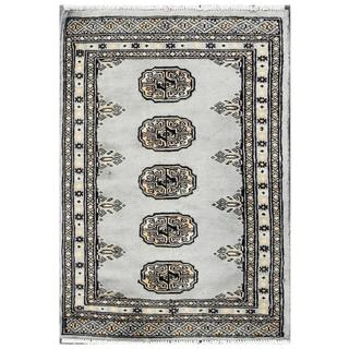 Herat Oriental Pakistani Hand-knotted Tribal Bokhara Blue/ Grey Wool Rug (2' x 2'10)