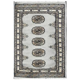 Herat Oriental Pakistani Hand-knotted Tribal Bokhara Blue/ Grey Wool Rug (2' x 2'10)