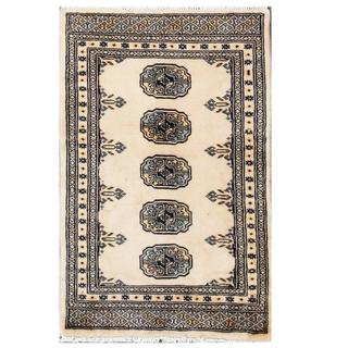 Hand-knotted Pakistani Tribal Bokhara Tan/ Grey Wool Rug (2' x 3')