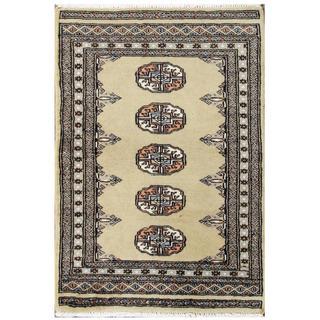 Hand-knotted Pakistani Tribal Bokhara Green/ Grey Wool Rug (2' x 3')