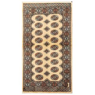 Herat Oriental Pakistani Hand-knotted Tribal Bokhara Tan/ Black Wool Rug (2'11 x 5'4)