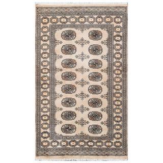 Herat Oriental Pakistani Hand-knotted Tribal Bokhara Tan/ Black Wool Rug (3'1 x 5'1)