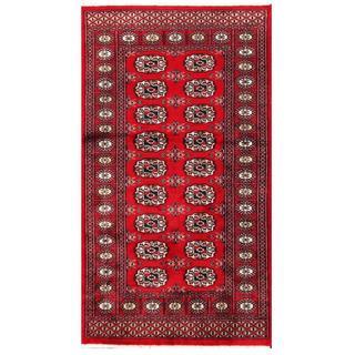 Herat Oriental Pakistani Hand-knotted Tribal Bokhara Red/ Black Wool Rug (3'1 x 5'5)