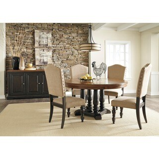 Shardinelle Two Tone Vintage Brown Round Dining Room Table Overstock