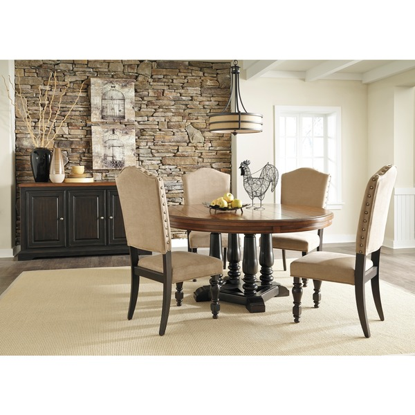 signature design by ashley shardinelle two tone vintage On 2 tone dining room tables